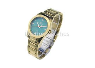 China Waterproof Quartz Stainless Steel Watch Gold Bracelet 10ATM Green Dial supplier
