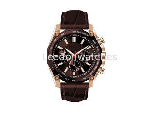 China 316L Case Genuine Leather Wrist Watch With Stainless Steel Screw Crown supplier