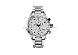 China Gold And Silver Men Stainless Steel Quartz Watch 100 Meter Water Resistant supplier