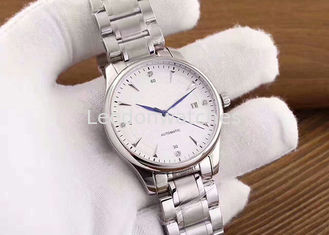 China Sapphire Glass Men Stainless Steel Automatic Watch Applied Index And Stones Mark supplier