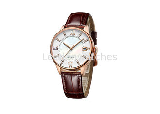 China Leather Ladies Wrist Watch  , Two Layers Dial Automatic Mechanical Watch supplier