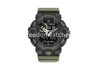 China Dual Time Digital Sports Wrist Watches , Classic Sport Watches Plastic Case supplier