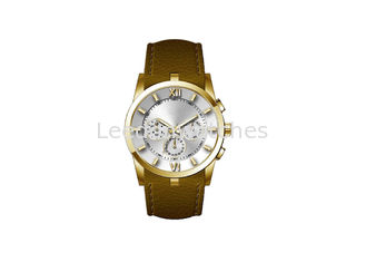 China 46MM Diameter Men'S Quartz Analog Watch Stainless Steel Back Cover Mineral Glass supplier