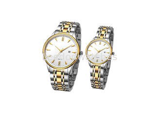 China Couple Quartz Stainless Steel Watch Water Resistant  Mineral Glass With Calendar supplier