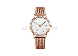 China Stones Mesh Band Stainless Steel Ladies Watch With 30M Water Resistant supplier