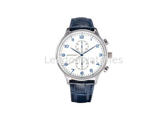 China Stainless Steel Case Genuine Leather Wrist Watch Quartz Movt Blue Color supplier