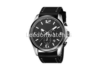 China Waterproof Black Chronograph Watch , Mens Chronograph Watches Leather Band Big Face supplier