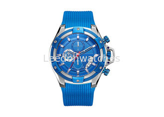 China Mens Sports Stainless Steel Waterproof Watch Silicone Strap Good IP Plating supplier