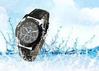China Stainless Steel Men'S Quartz Wrist Watch Waterproof With Genuine Leather Strap company