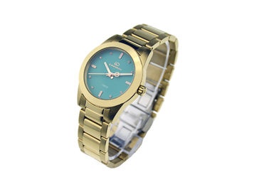 Waterproof Quartz Stainless Steel Watch Gold Bracelet 10ATM Green Dial