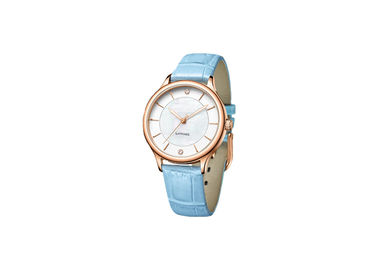 Sapphire Crystal Glass Stainless Steel Ladies Watch With Genuine Leather Strap