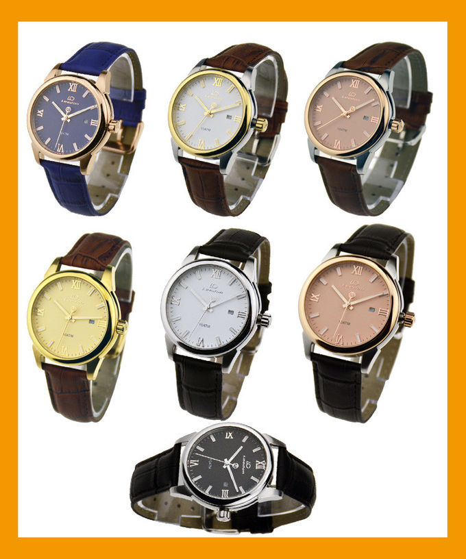Quartz Movt Leather Wristband Watch , 10ATM Waterproof Classic Leather Watch