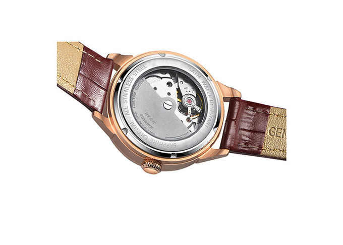 Leather Ladies Wrist Watch  , Two Layers Dial Automatic Mechanical Watch