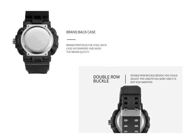 Dual Time Digital Sports Wrist Watches , Classic Sport Watches Plastic Case