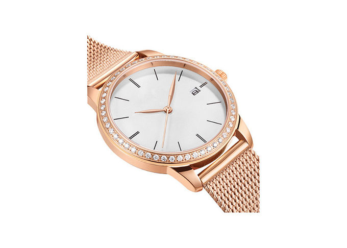 Stones Mesh Band Stainless Steel Ladies Watch With 30M Water Resistant