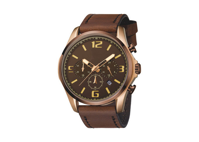 Waterproof Black Chronograph Watch , Mens Chronograph Watches Leather Band Big Face